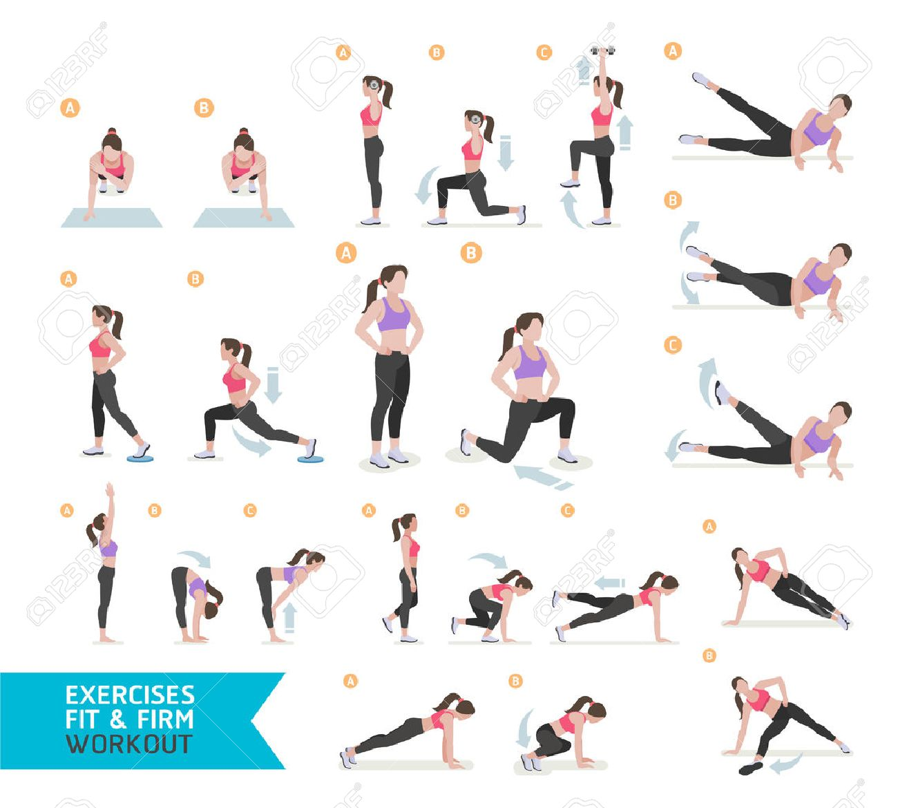 Woman workout fitness, aerobic and exercises. Vector Illustration. - 66774944