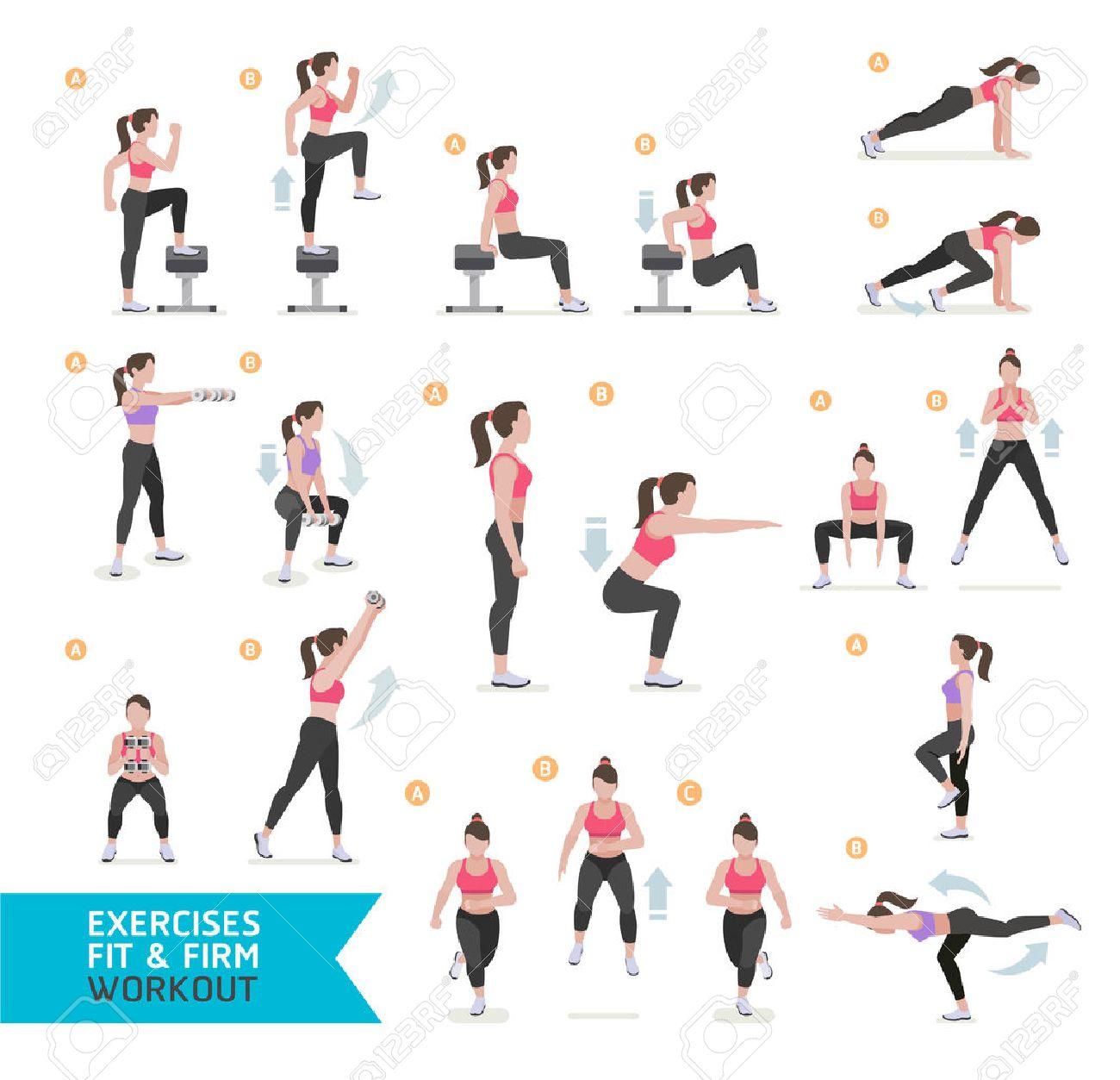 a5f6b97347bb Entrenamiento de la mujer de la aptitud, aeróbicos y ejercicios.  Ilustración del vector.