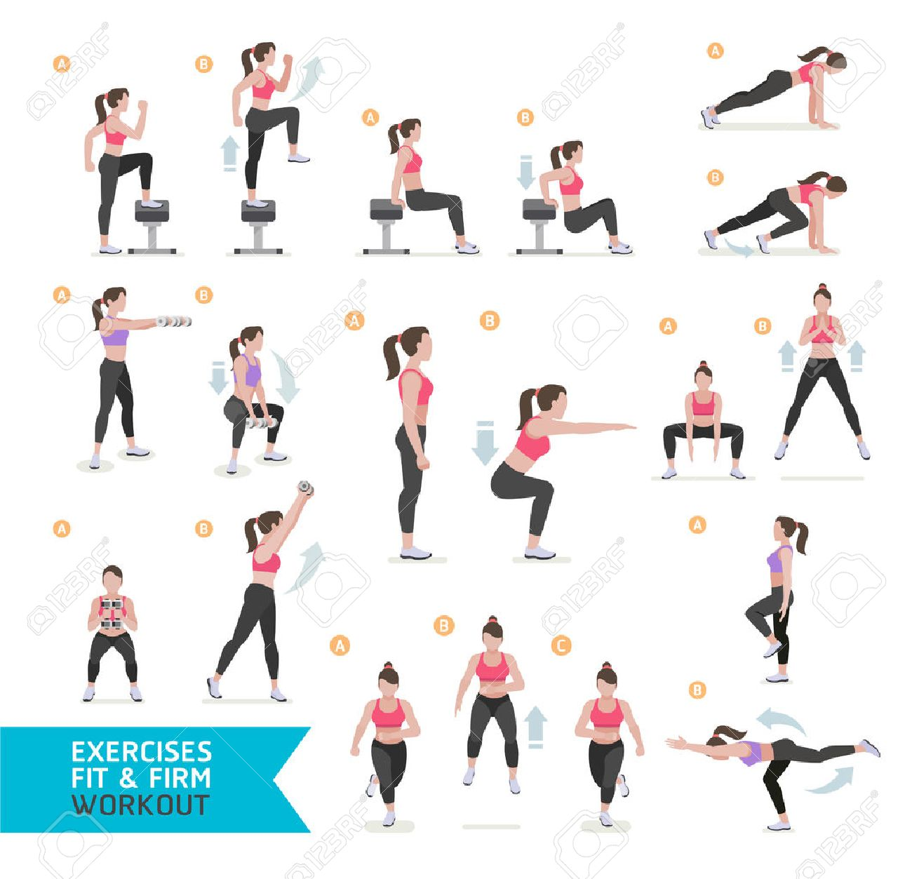 Woman workout fitness, aerobic and exercises. Vector Illustration. - 66774946