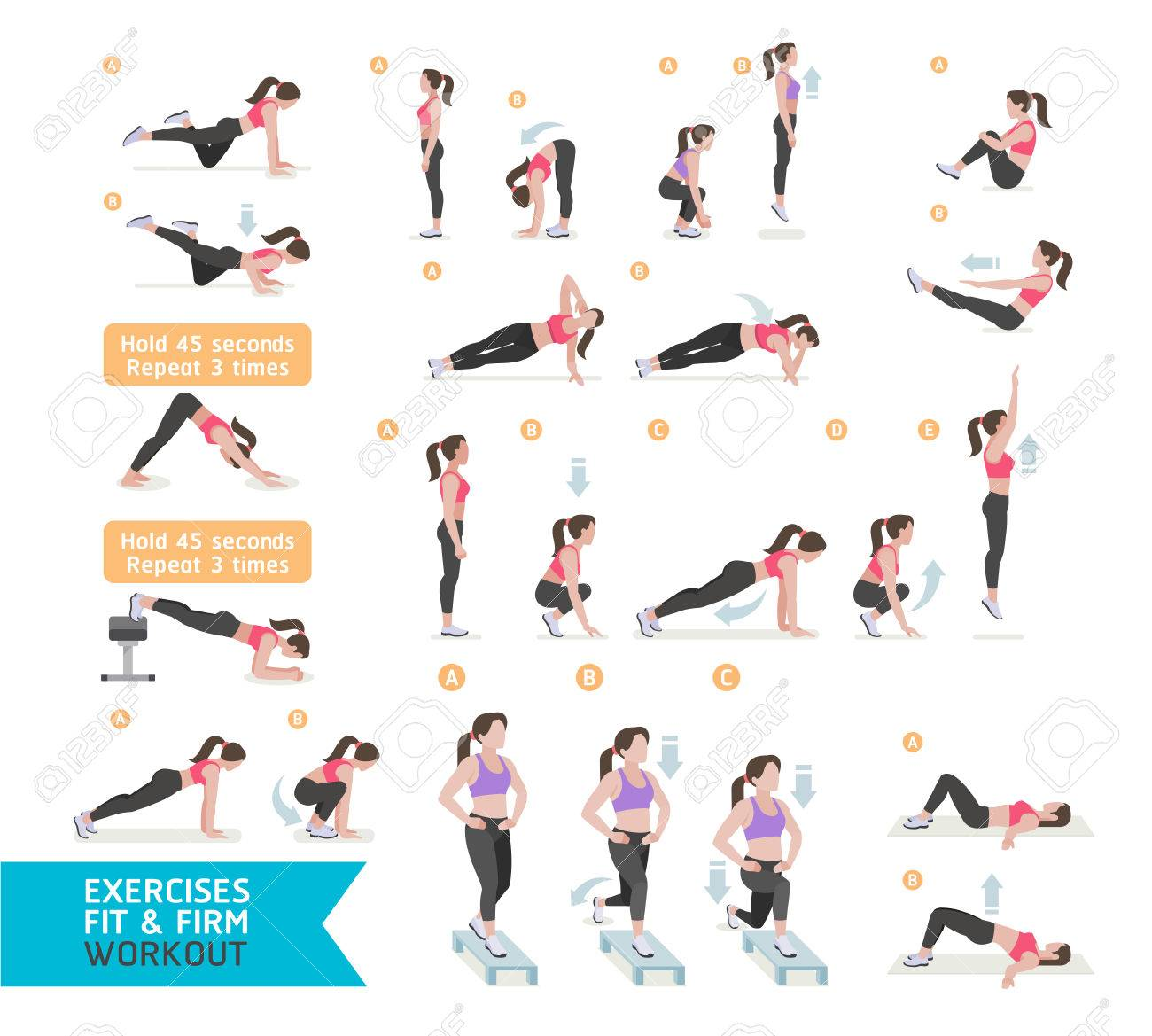 Woman workout fitness, aerobic and exercises. Vector Illustration. - 66774947