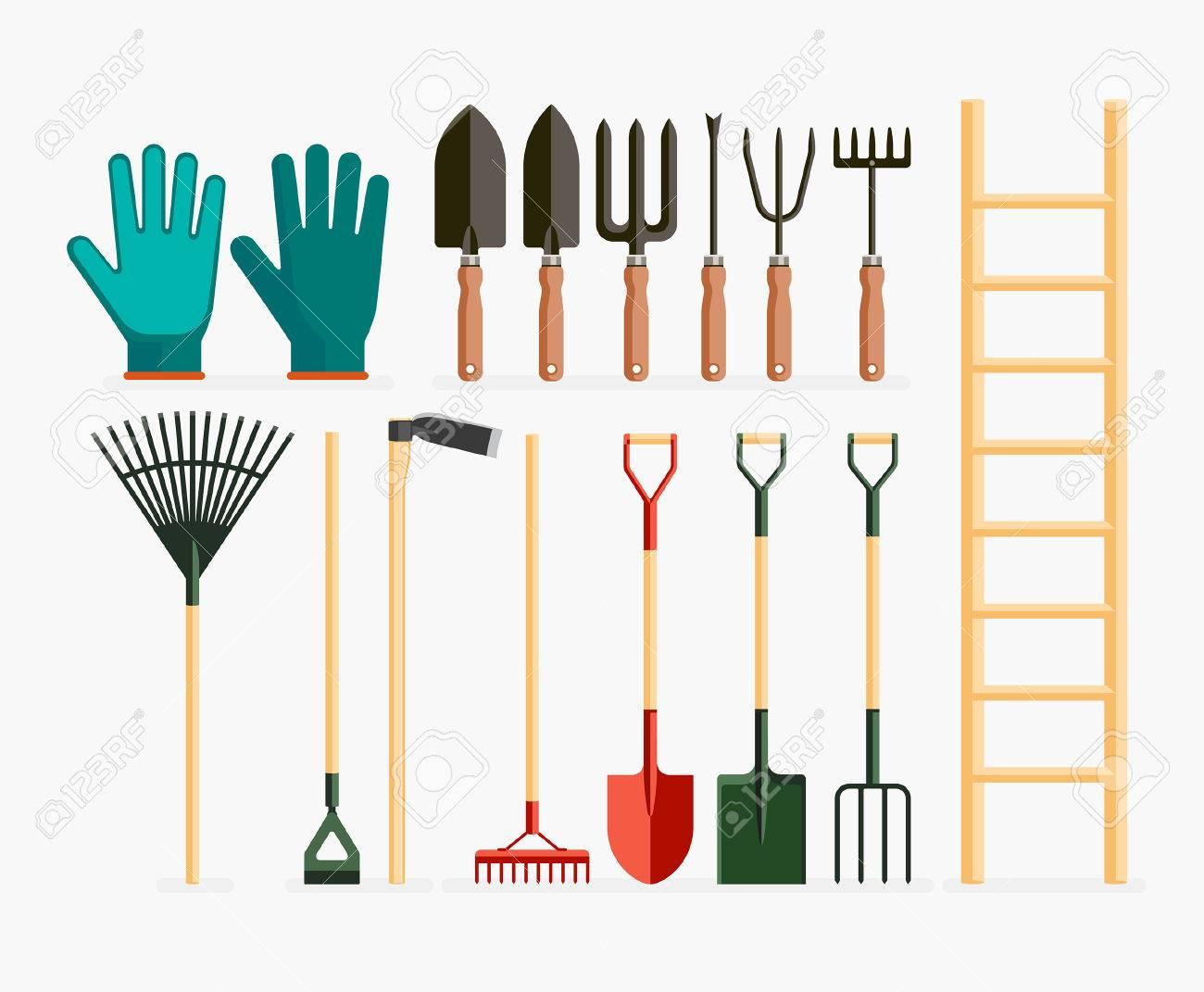 Beau Set Of Garden Tools And Gardening Items. Vector Illustration Flat Design.  Stock Vector