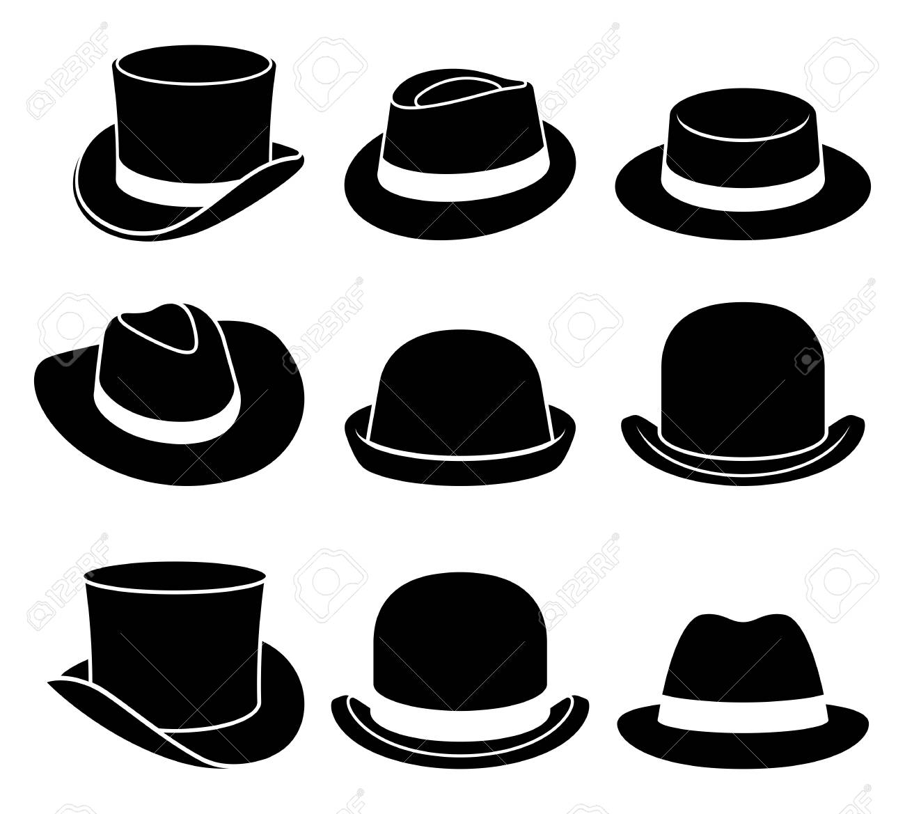 4cb966d8 Vintage Hats Icons. Vector Illustration. Royalty Free Cliparts ...