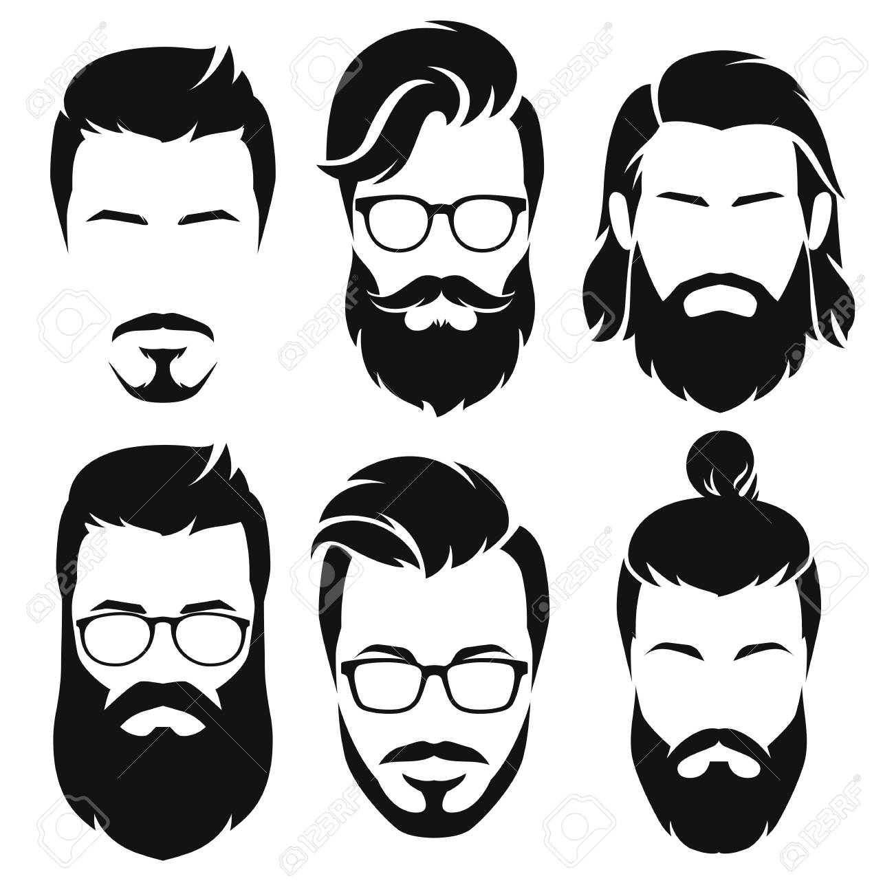 Set of silhouette bearded men faces hipsters style with different haircuts. Vector illustration. - 88034972