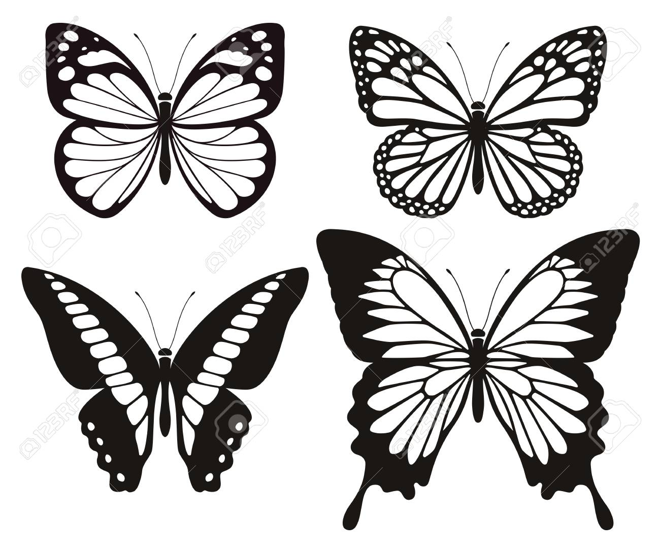 Butterfly silhouette icons set. Vector Illustrations. - 94044134
