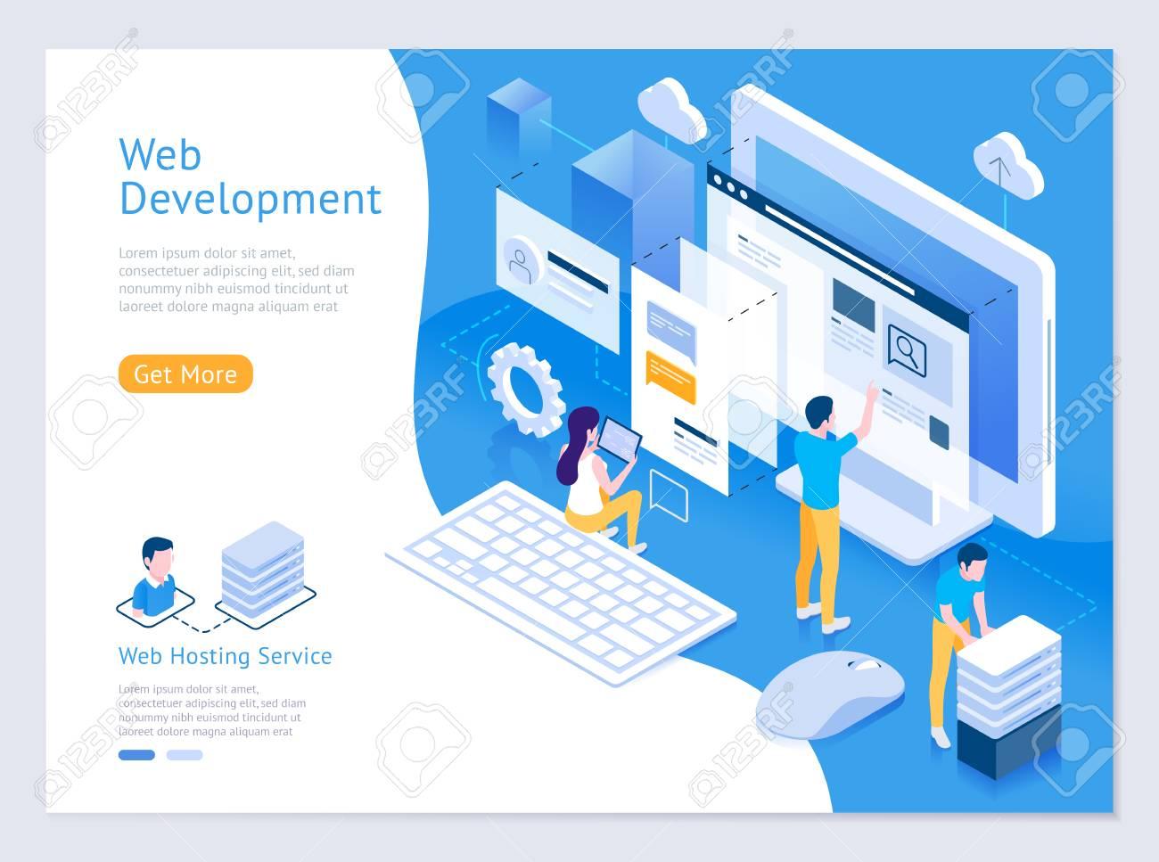 Web design and development vector isometric illustrations. - 106089921