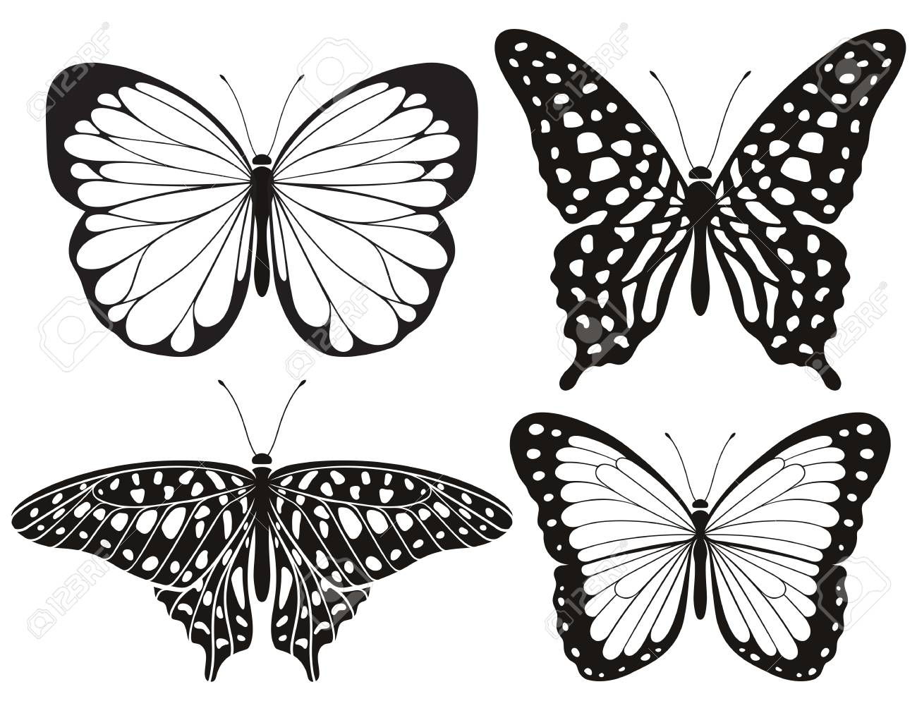 Butterfly silhouette icons set. Vector Illustrations. - 127666255