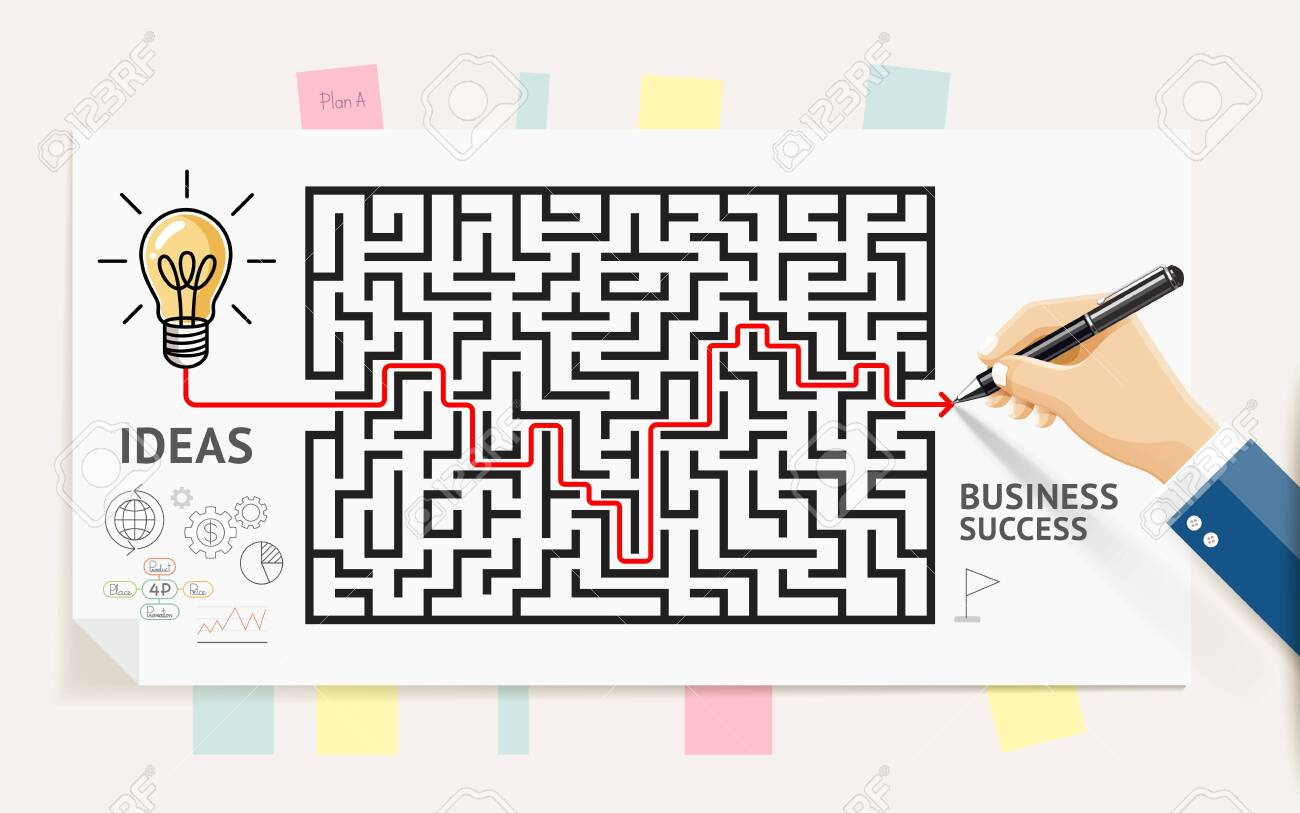 Business maze conceptuel design. Businessman hand drawing line through maze labyrinth and think about solution to success. Graphic vector illustrations. - 124351530