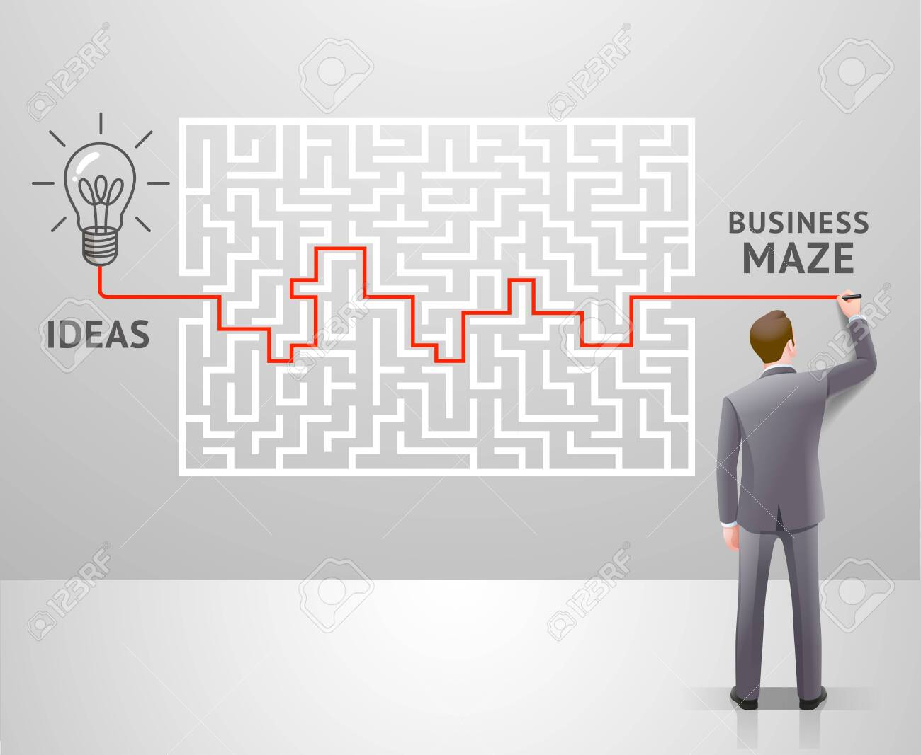 Business maze conceptuel design. Businessman with a labyrinth and think about solution to success. Graphic vector illustrations. - 124351531