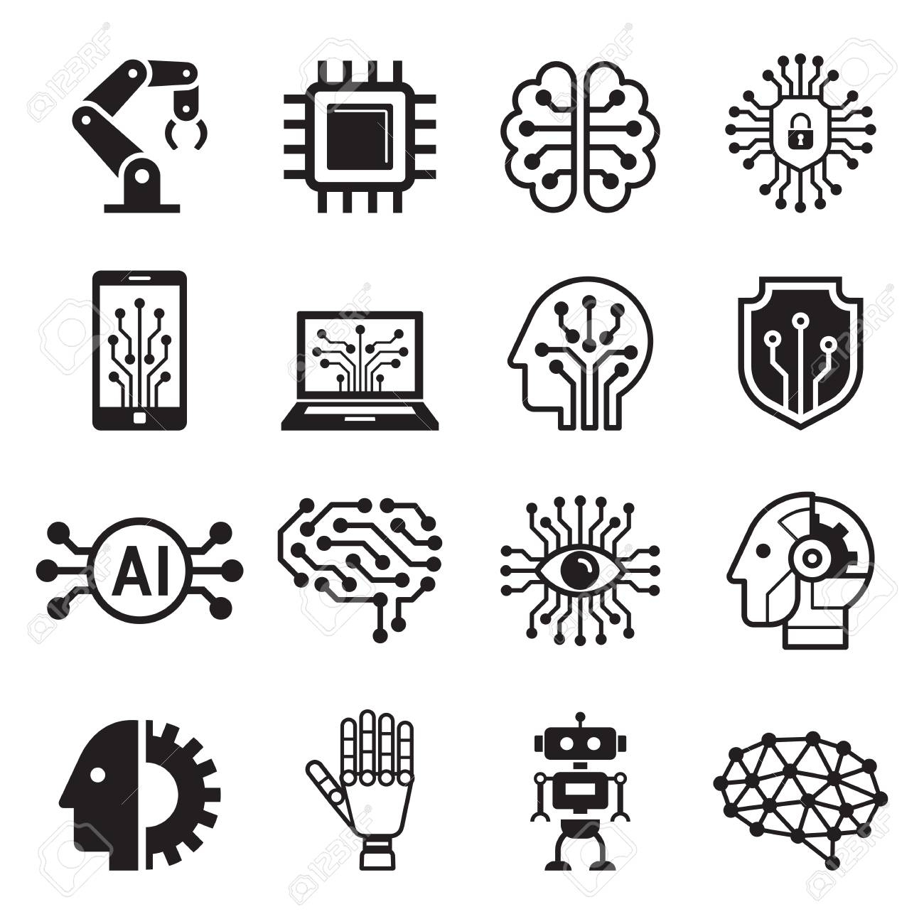 Ai robot artificial intelligence icons. Vector illustration. - 126167554