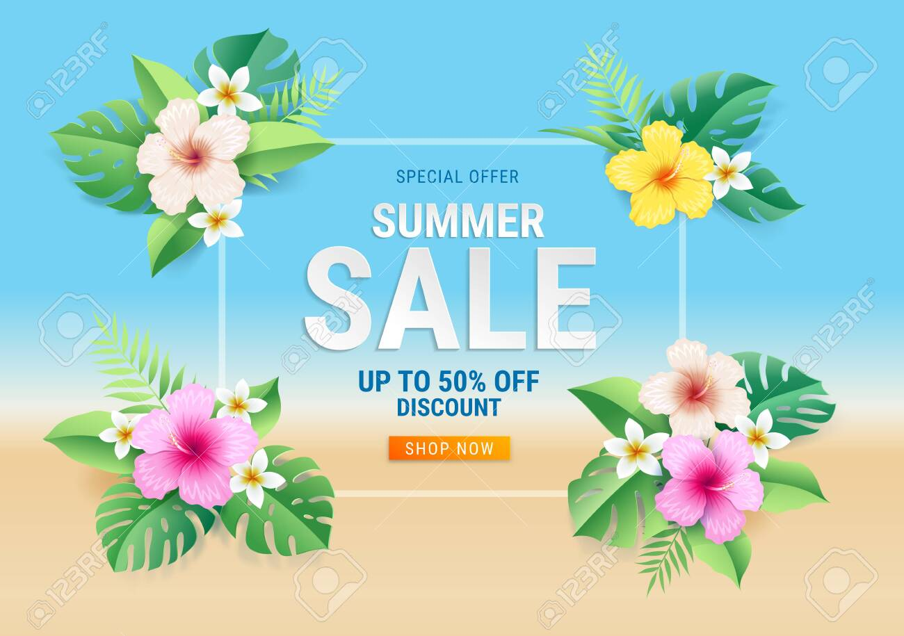 Summer sale card with hibiscus flowers on tropical leaf on the beach background. Vector illustration - 131873945