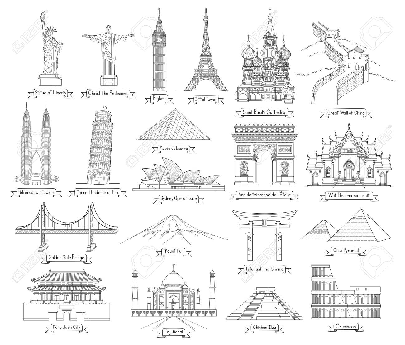 Travel doodle art drawing style vector illustrations. Famous landmarks in the world. - 134379053
