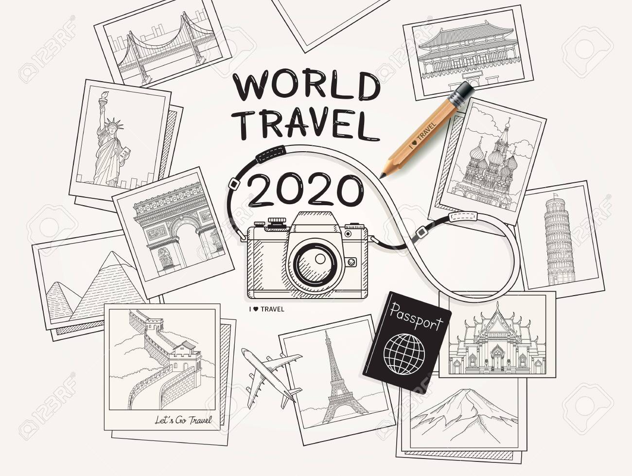 World travel 2020 concept. Camera and famous landmarks photo picture drawing style vector illustration. - 134379050