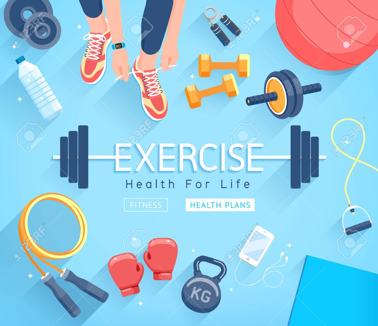 Exercises conceptual design. Young people doing workout. Sport Fitness banner promotion vector Illustrations. - 137229961