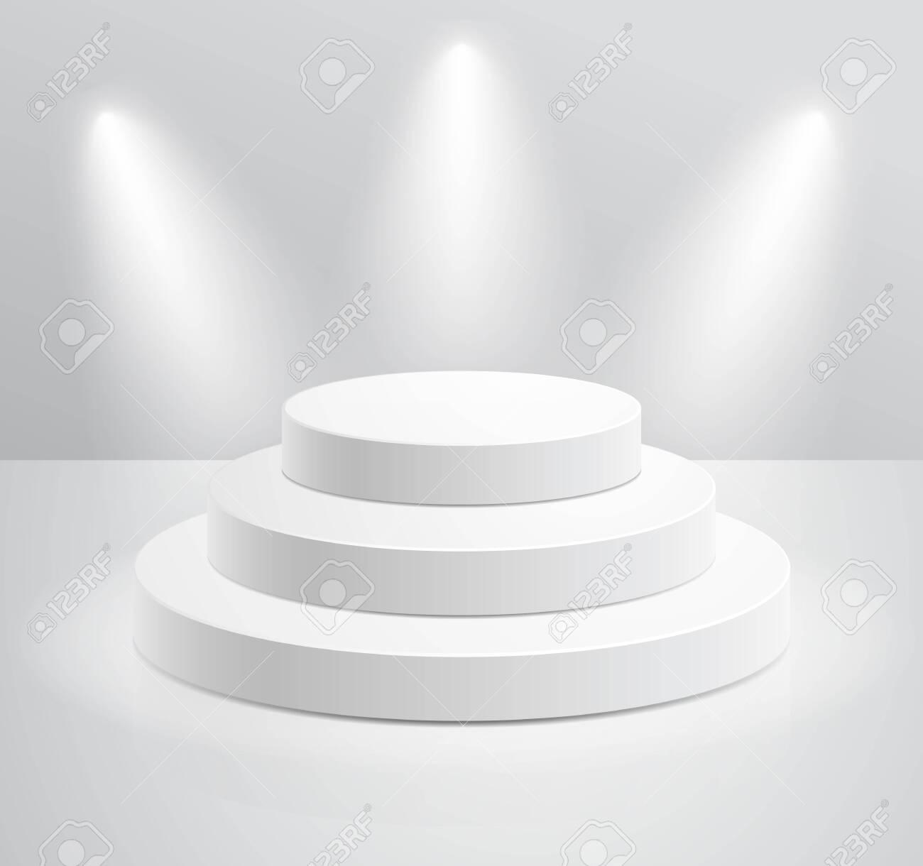 Podium with spotlight vector illustrations. - 146358416