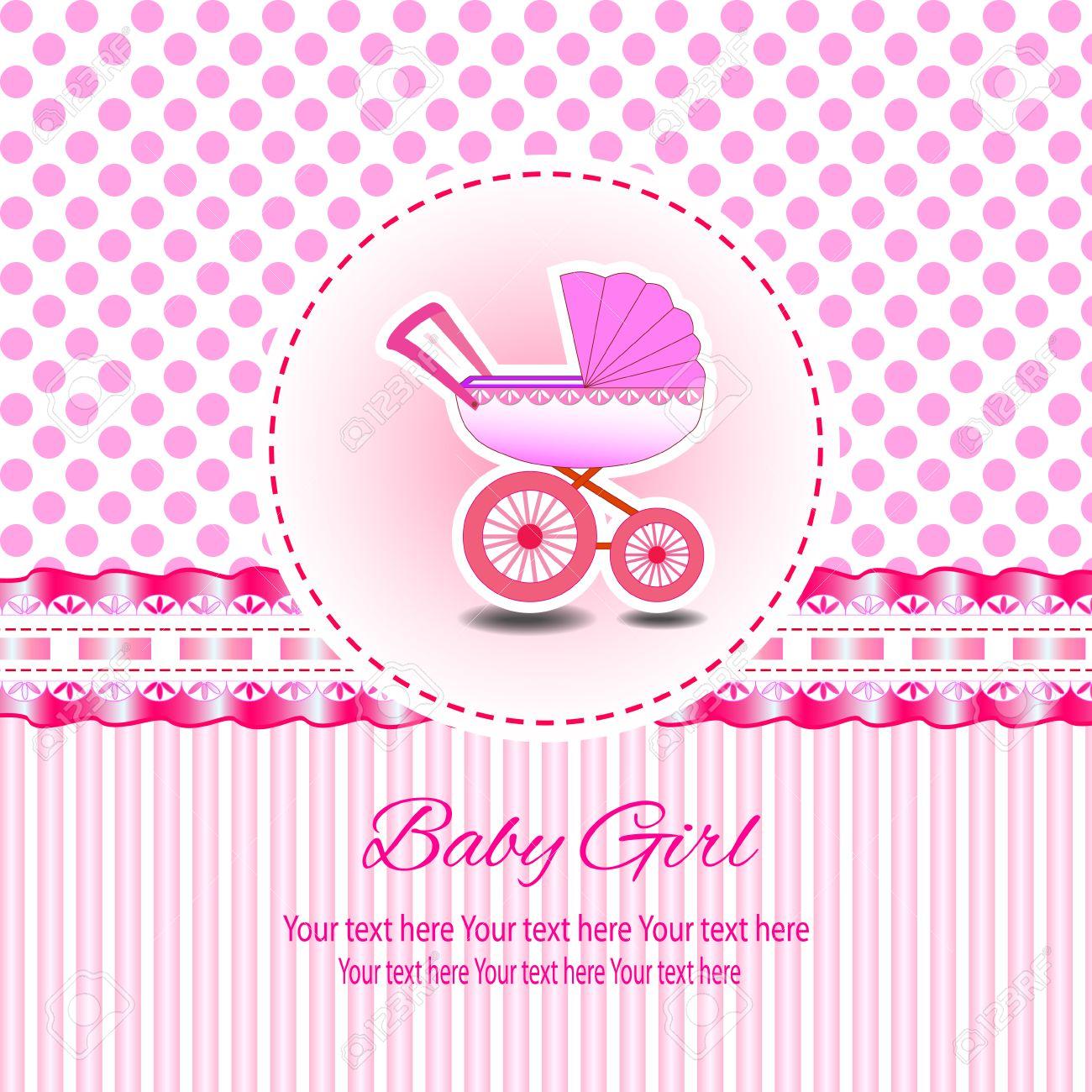 Baby Schöne Mädchen Karte Mit Ihrem Text Für Einladung, Gruß, Frame,