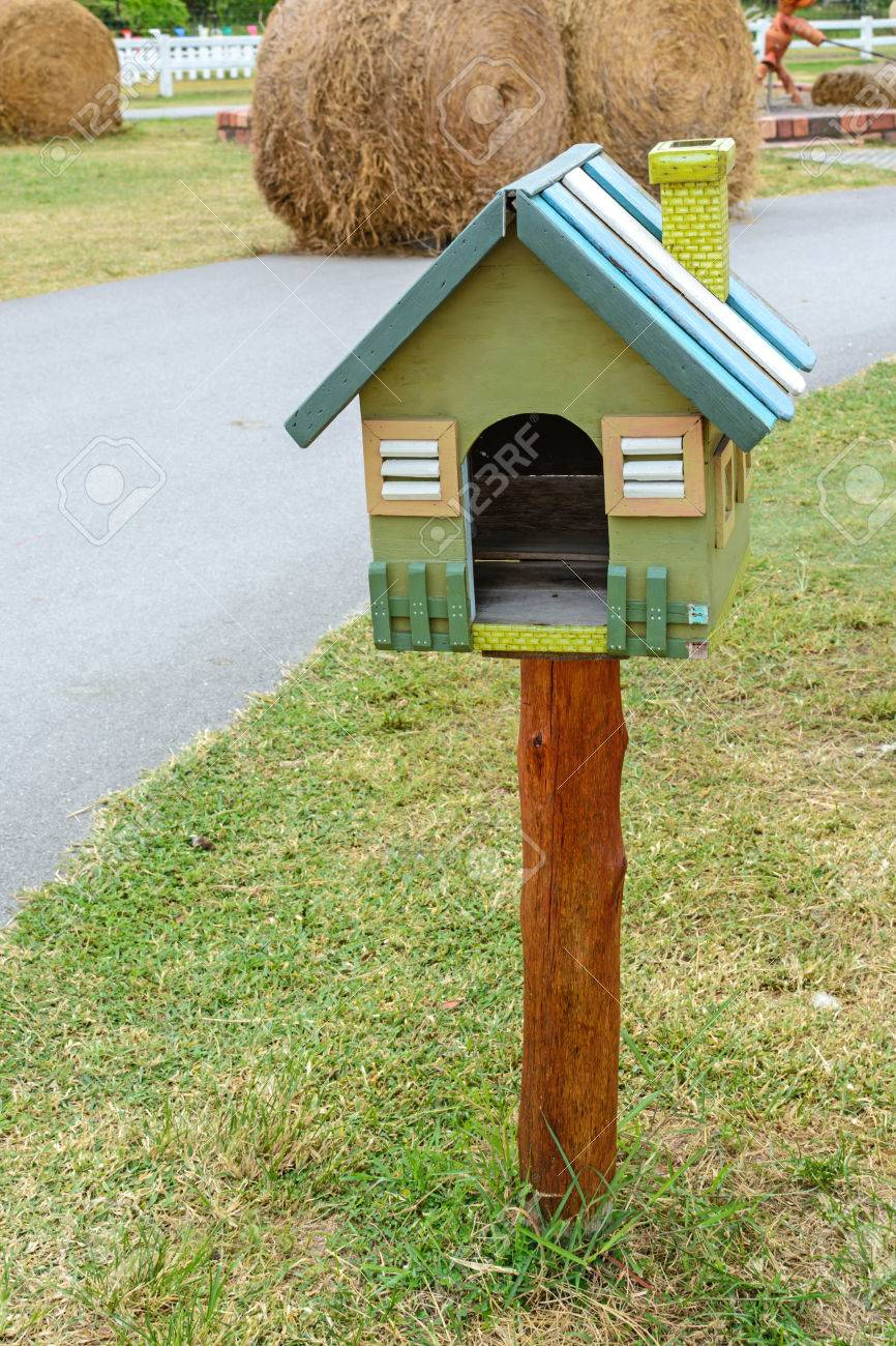stock photo wooden vintage bird house or letter box