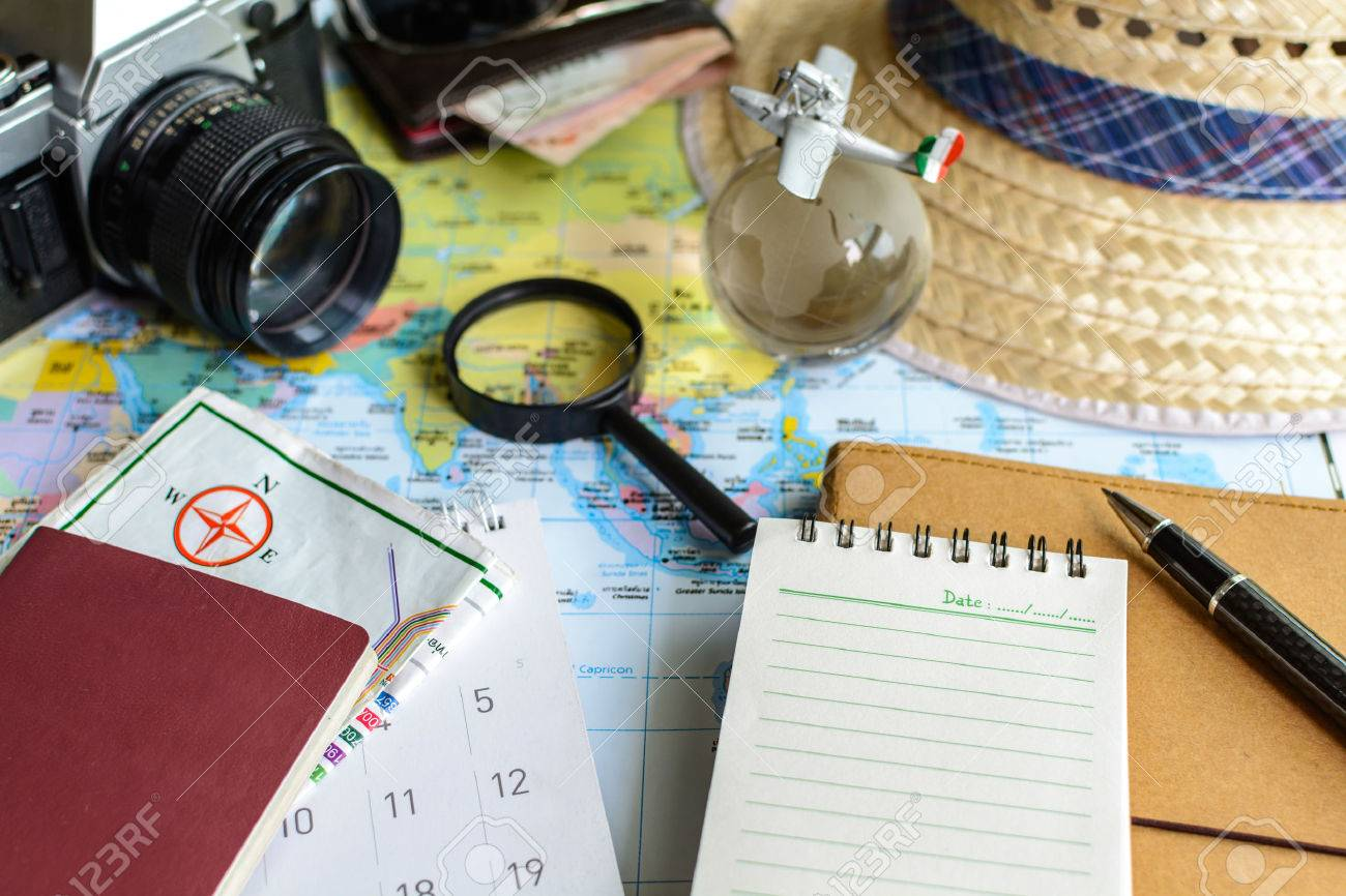 Diary And Calendar With Passport And Map Travel Planning – Map For Travel Planning