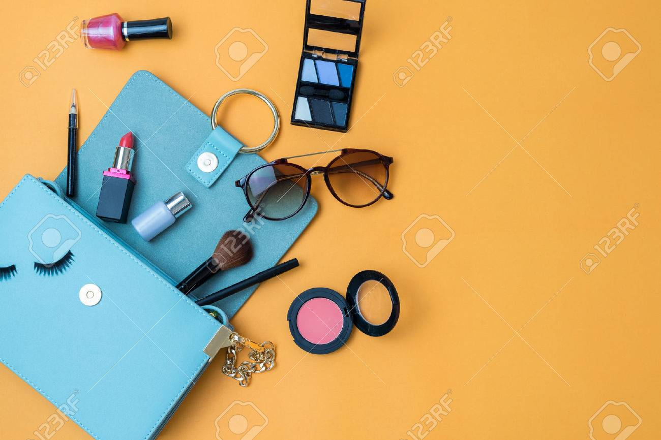Fashion woman essentials, cosmetics, cellphone, makeup accessories on colorful background, Top view - 63831386