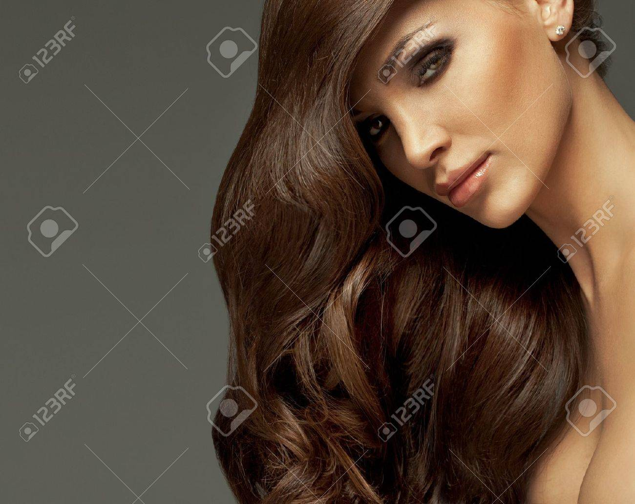 Portrait of perfect Makeup  Beautiful sexy woman with long Hair Stock Photo - 19731490
