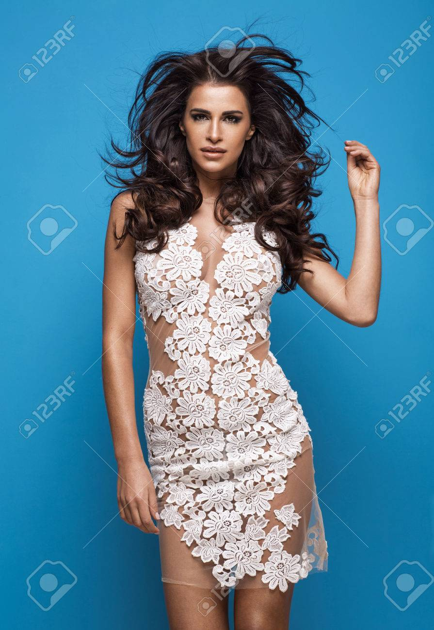 Fashion woman wearing white flower dress stock photo picture and fashion woman wearing white flower dress stock photo 41159315 izmirmasajfo