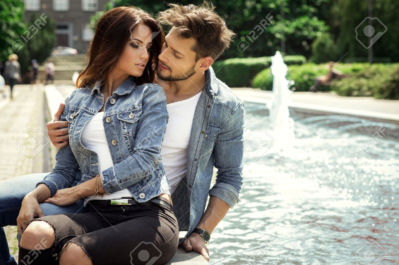 Young couple kissing each other Stock Photo - 42807502
