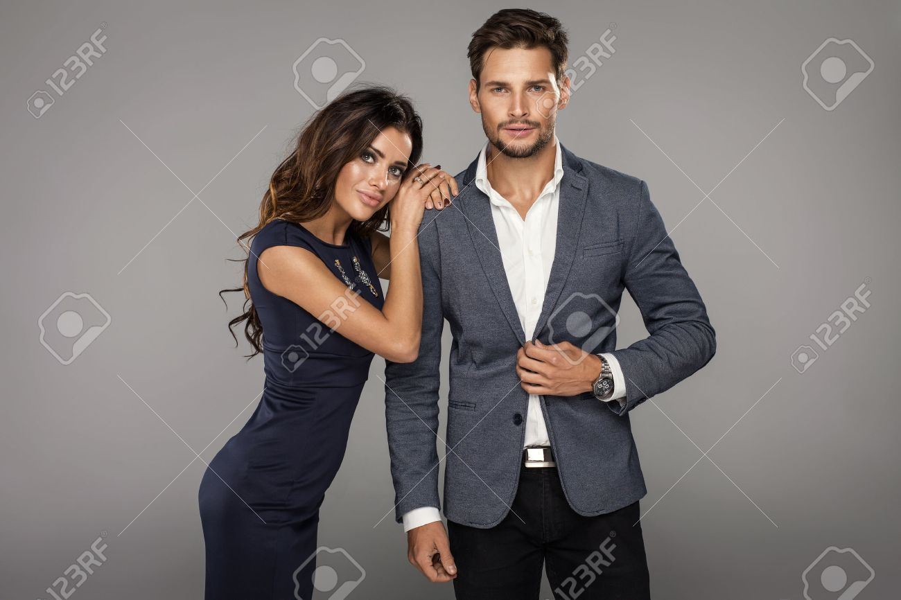 Portrait of beautiful smiling woman with handsome man Stock Photo - 48374092