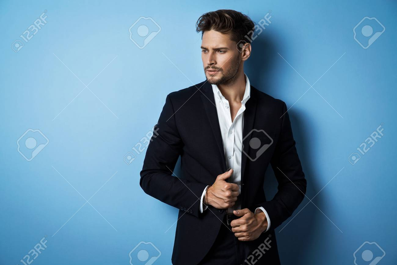 Handsome Man Wear Black Suit Stock Photo, Picture And Royalty Free ...
