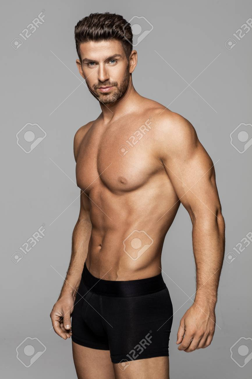 Sexy male model in underwear stock photo 84918939