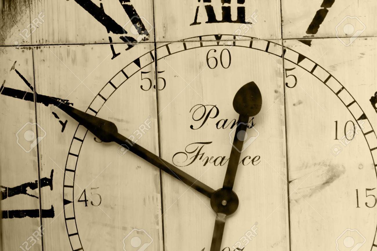 Time - A cutout of an old wooden wall clock in black and white Stock Photo - 18655279