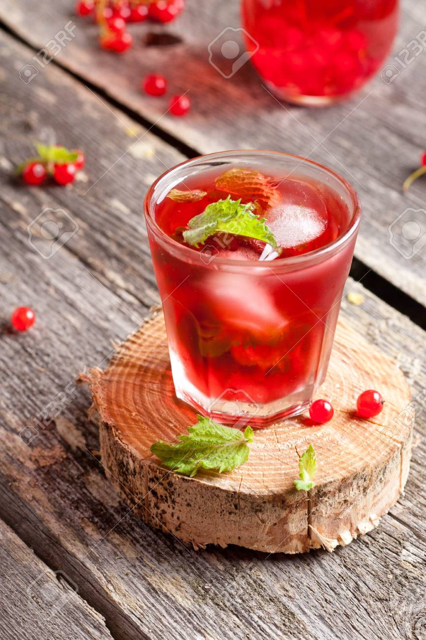 Cold Refreshing Berry Hibiscus Iced Tea With Mint Close Up Stock