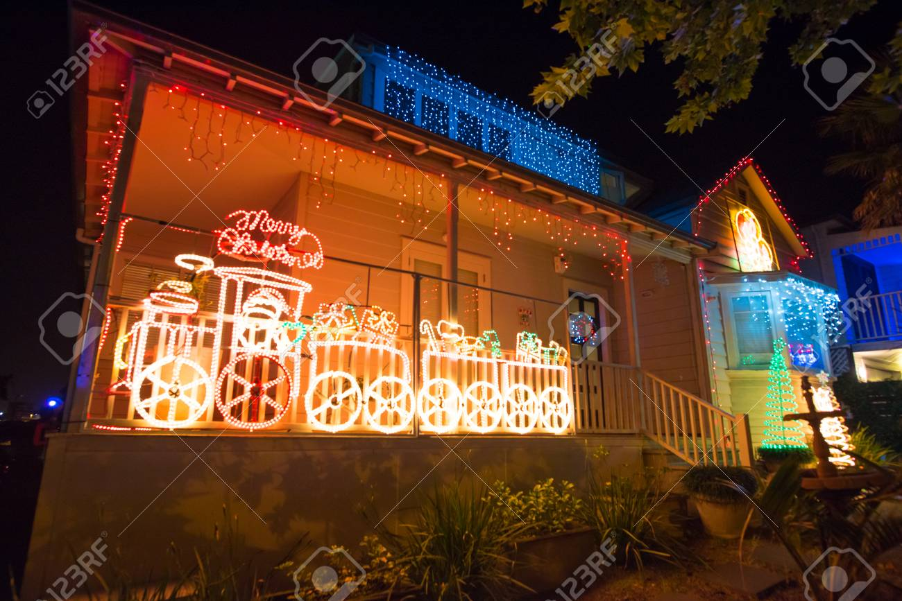Beautiful Outdoor Christmas Lights Every Year Decorating Houses Stock Photo Picture And Royalty Free Image Image 67936735