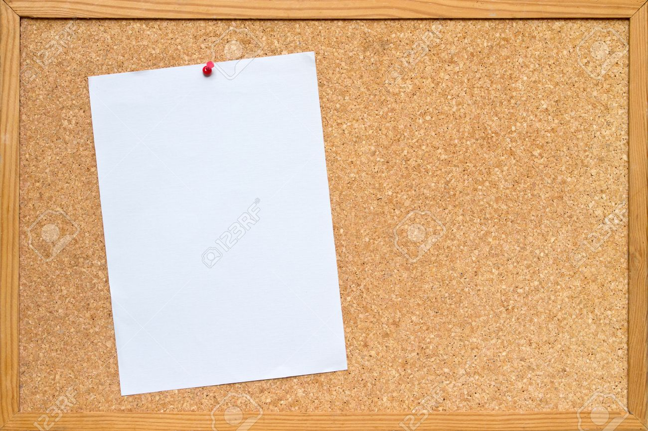 Cork Bulletin Board Blank Piece Of White A4 Paper Pinned To A Cork Board Bulletin