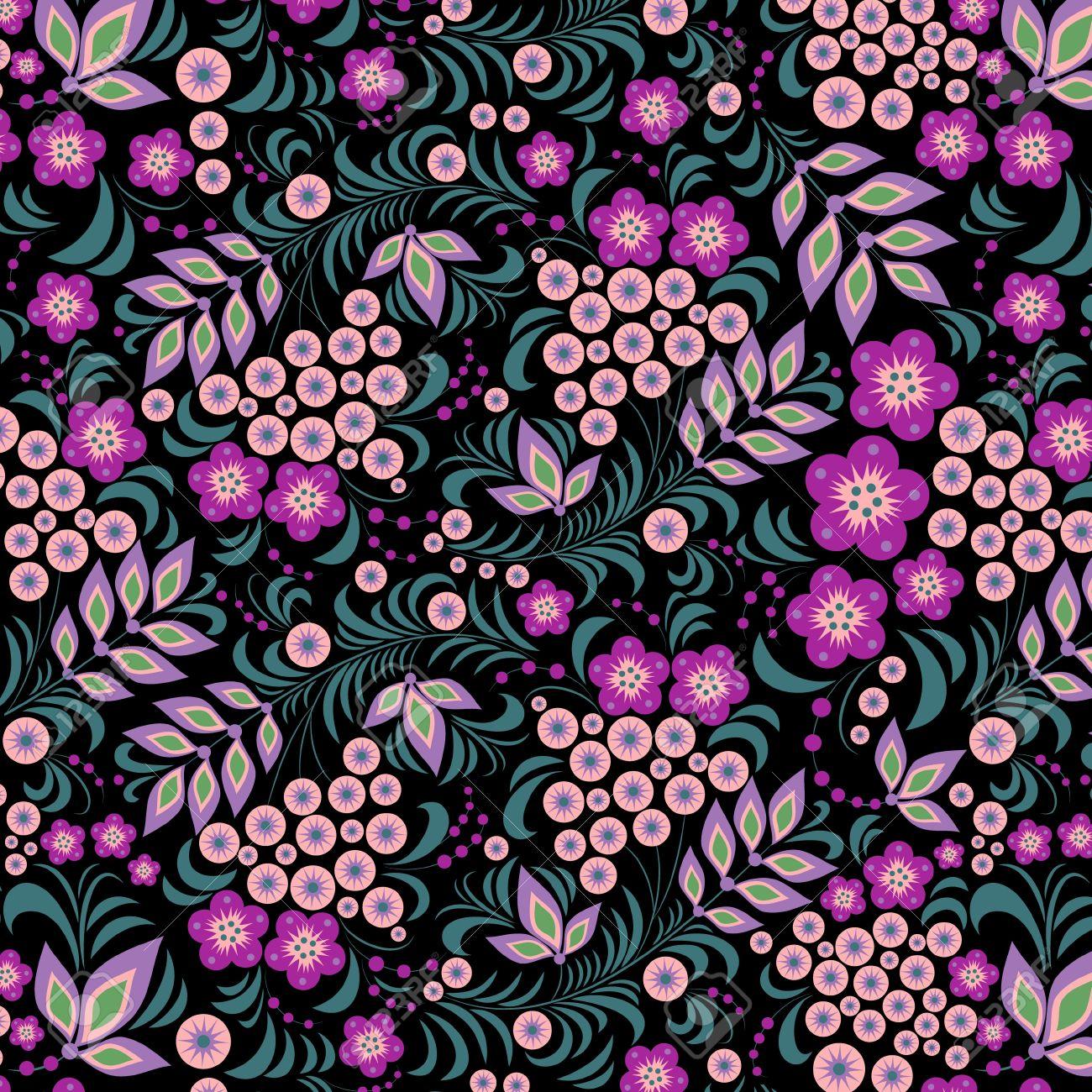Ilustracion De Patron Transparente De Flores De Colores Sobre Fondo