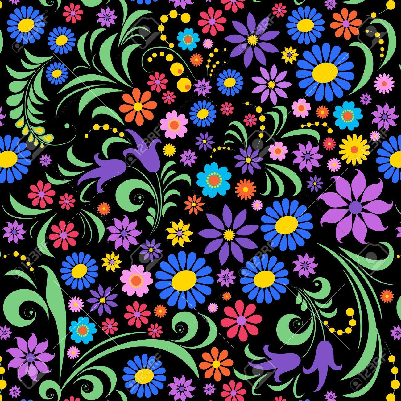 Ilustración De Flores De Colores Sobre Fondo Negro Ilustraciones