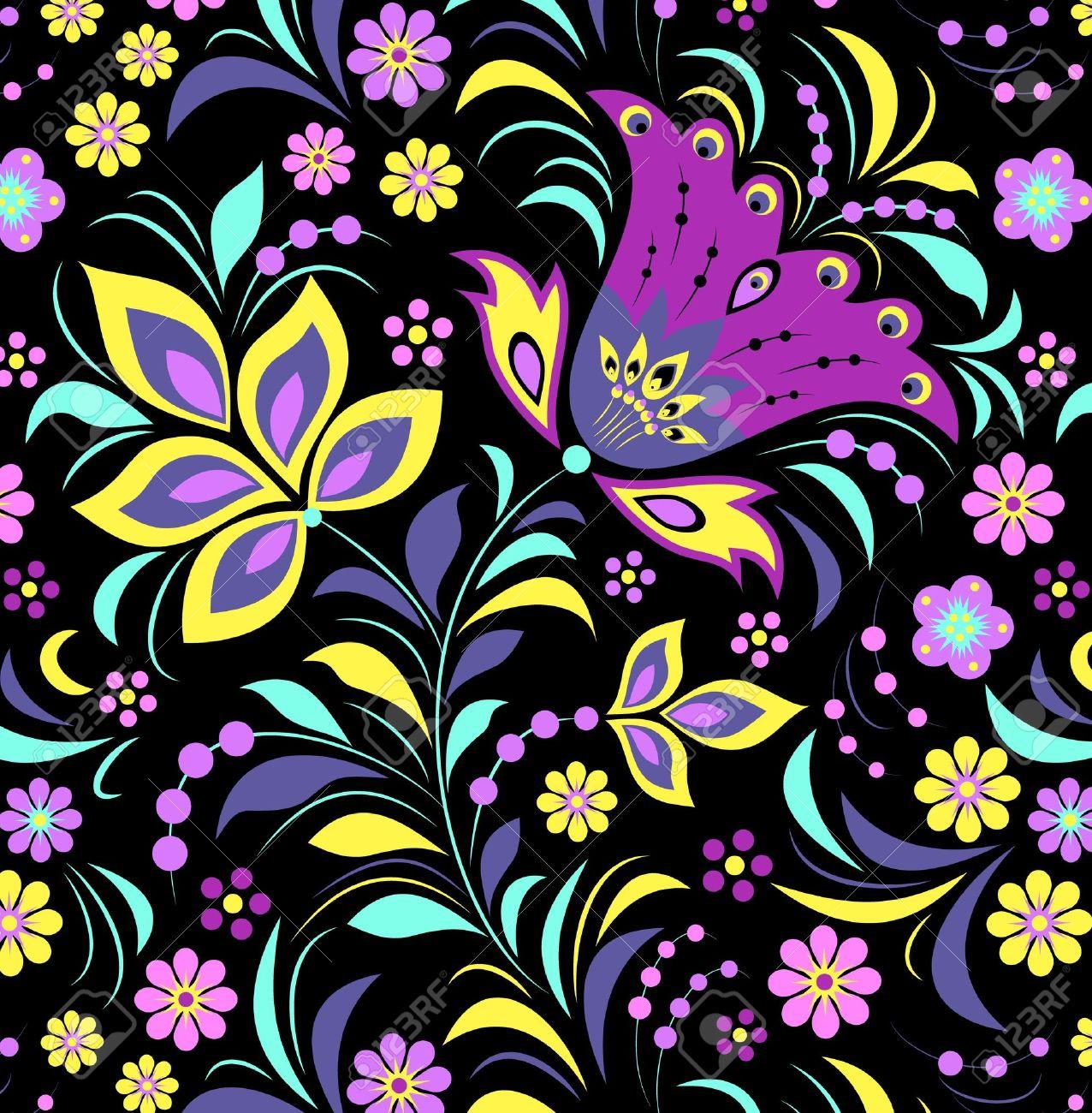 Ilustracion De Flores De Colores Sobre Fondo Negro Ilustraciones