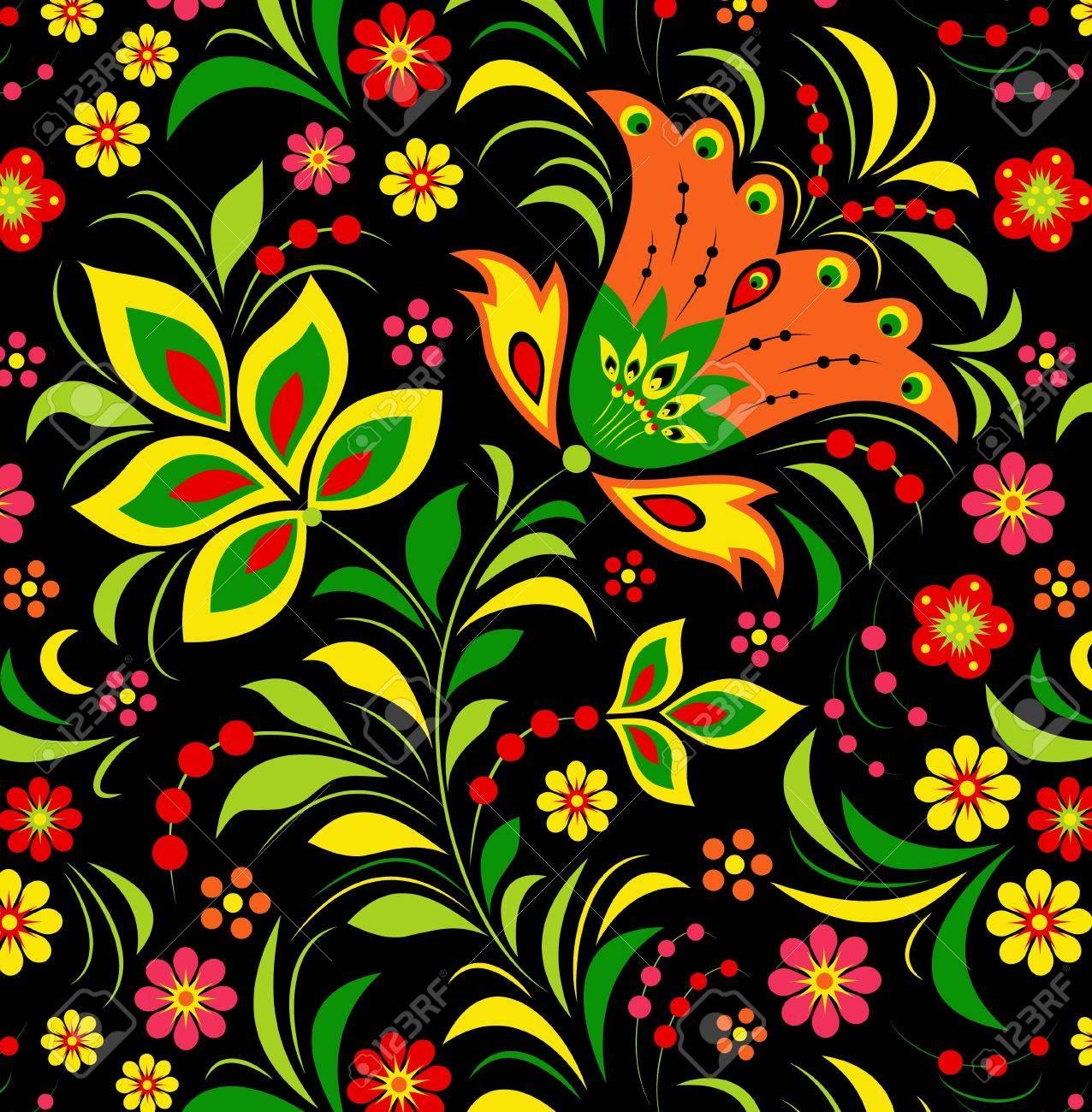 Illustration of  colorful flower on black background. Stock Vector - 12077551