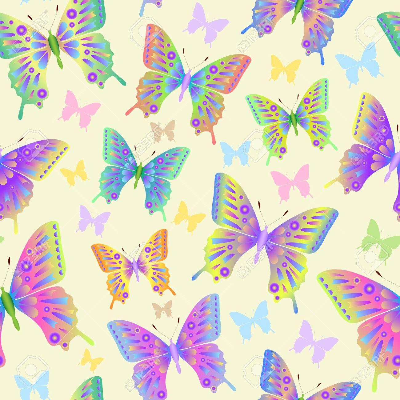 illustration of seamless butterflies pattern on pastel background
