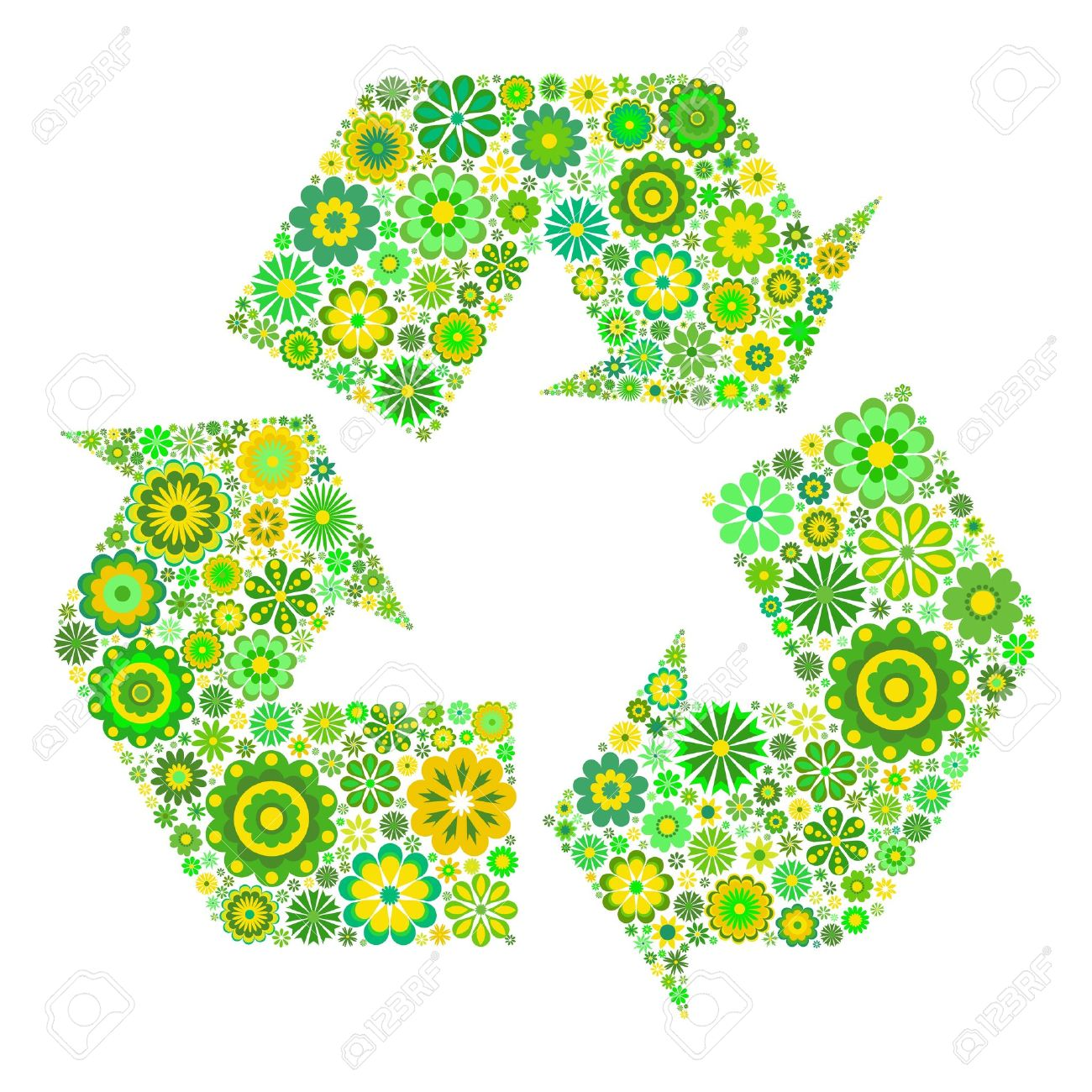 Flowery recycling symbol isolated on white background Stock Vector - 13172254