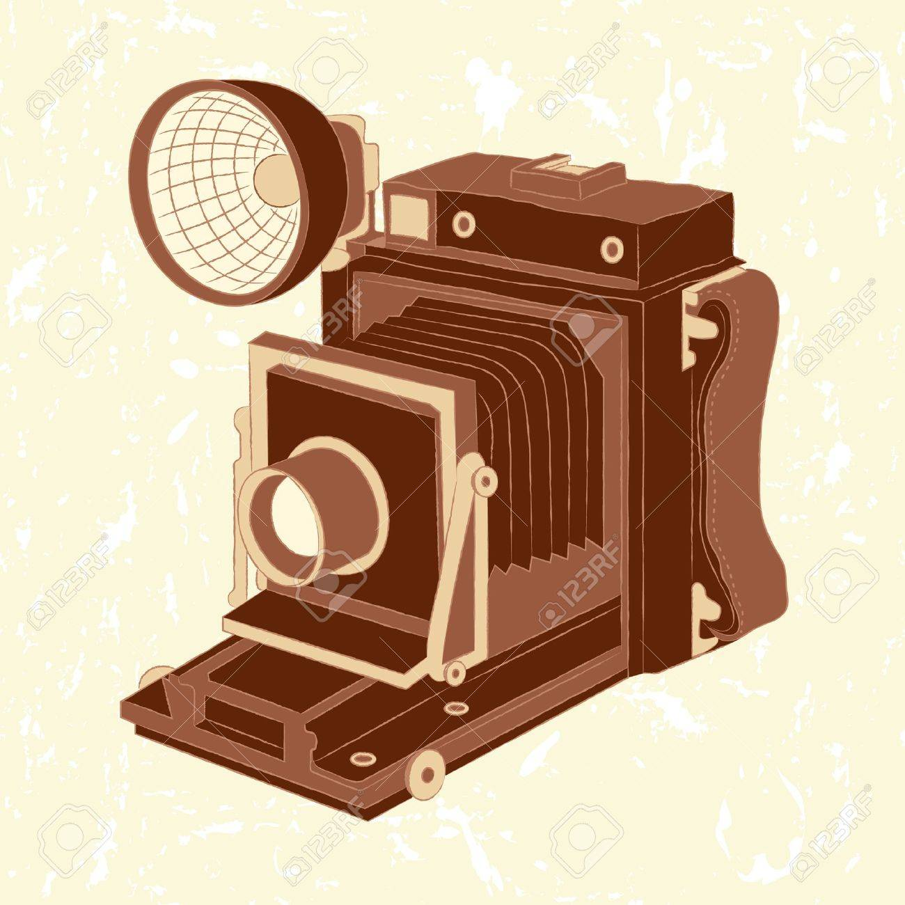 Vector illustration of vintage photo camera on grunge background Stock Vector - 14100533