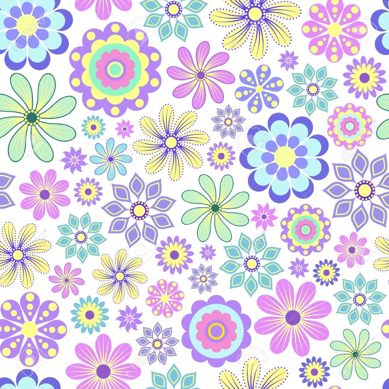 Ilustración Vectorial De Flores En Colores Pastel Sobre Fondo Blanco