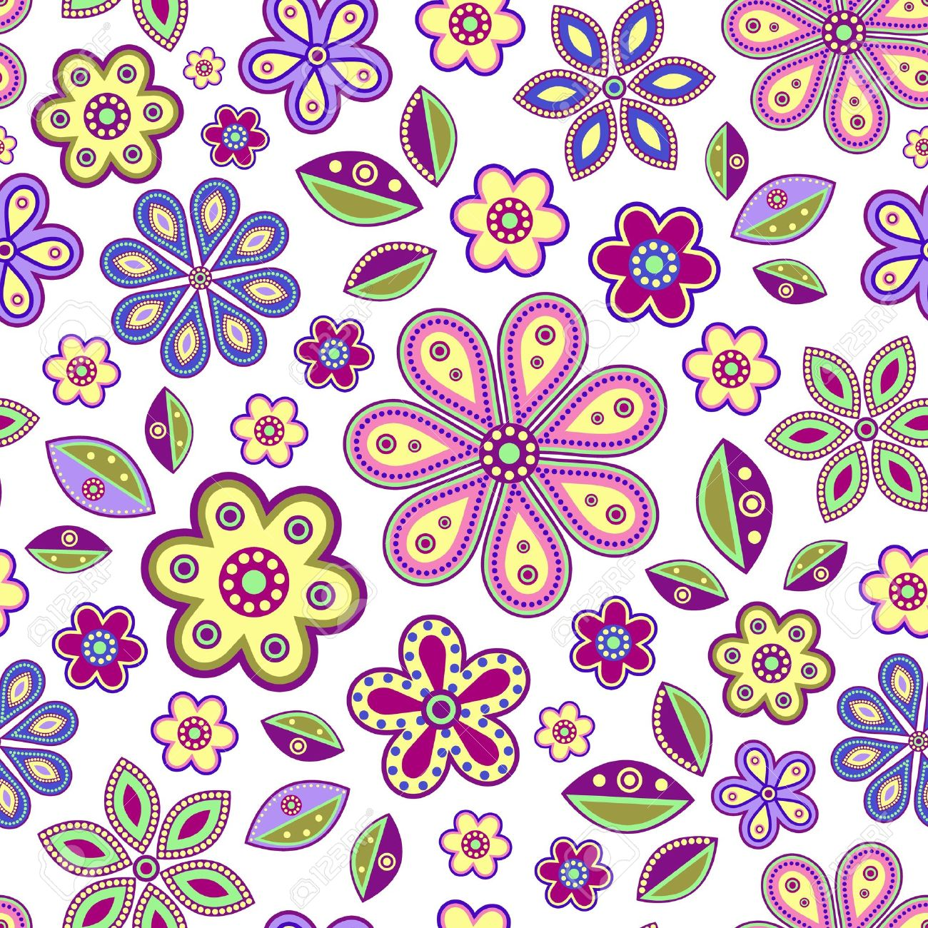 illustration of  seamless with colorful abstract flowers on white background Stock Vector - 14789448