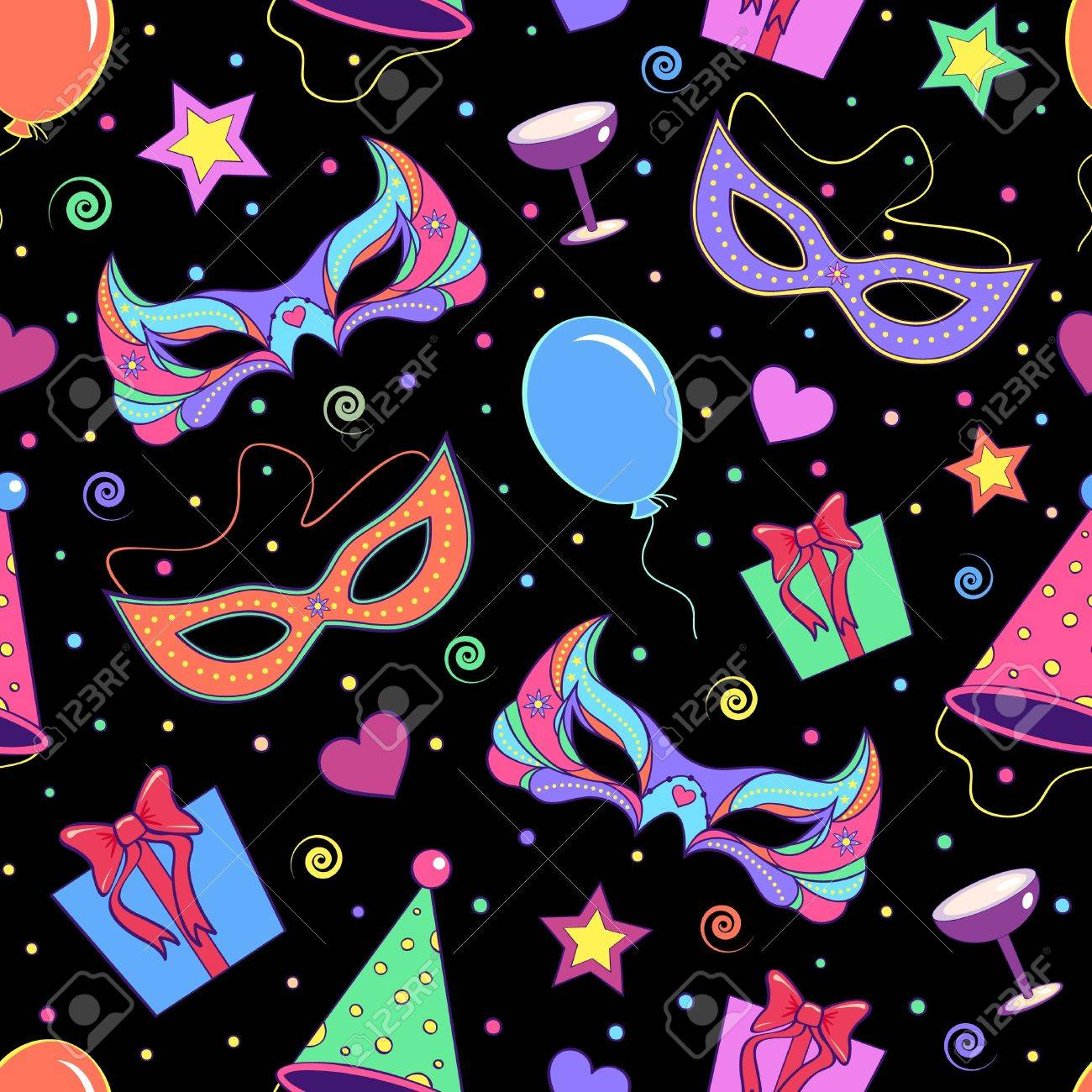 illustration of seamless pattern with different elements of party Stock Vector - 15687667