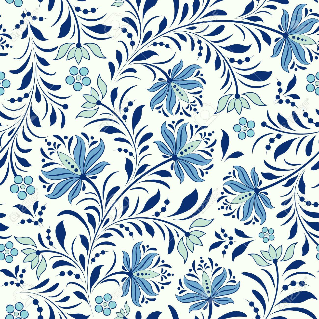 illustration of seamless pattern with abstract flowers.Floral background Stock Vector - 15687666