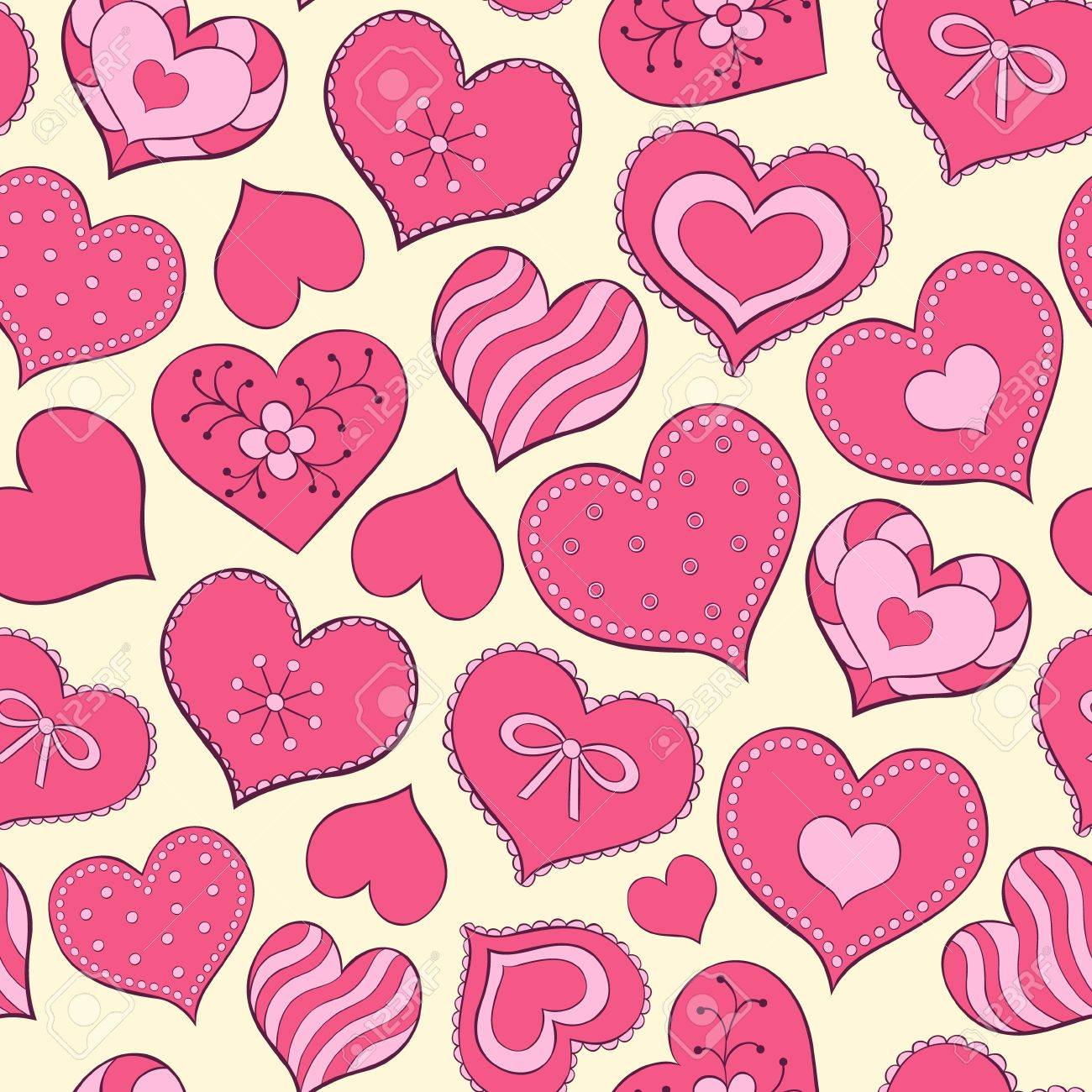 Vector illustration of seamless seamless pattern  with hand drawn valentine hearts Stock Vector - 16012689