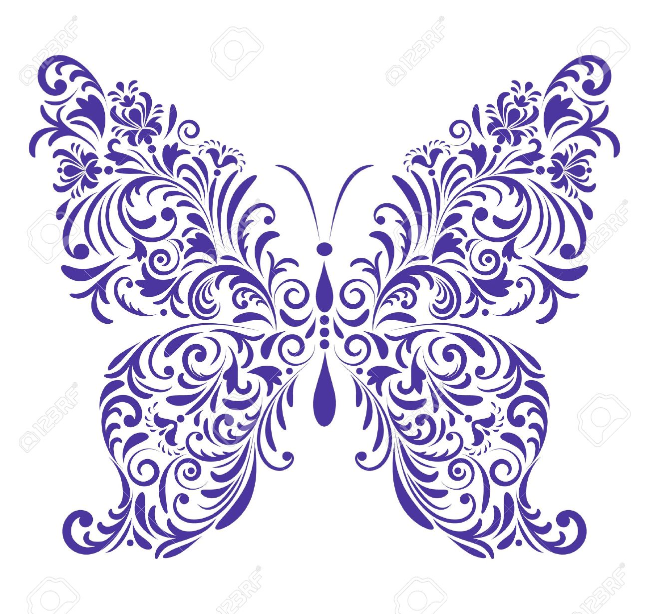 Vector illustration of abstract floral butterfly isolated on white background Stock Vector - 16240885