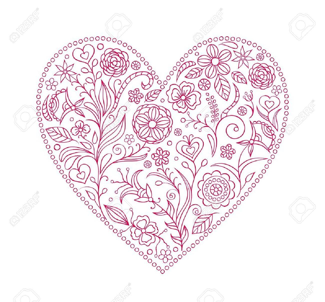 illustration of  floral  valentine heart  isolated on white background Stock Vector - 16441218