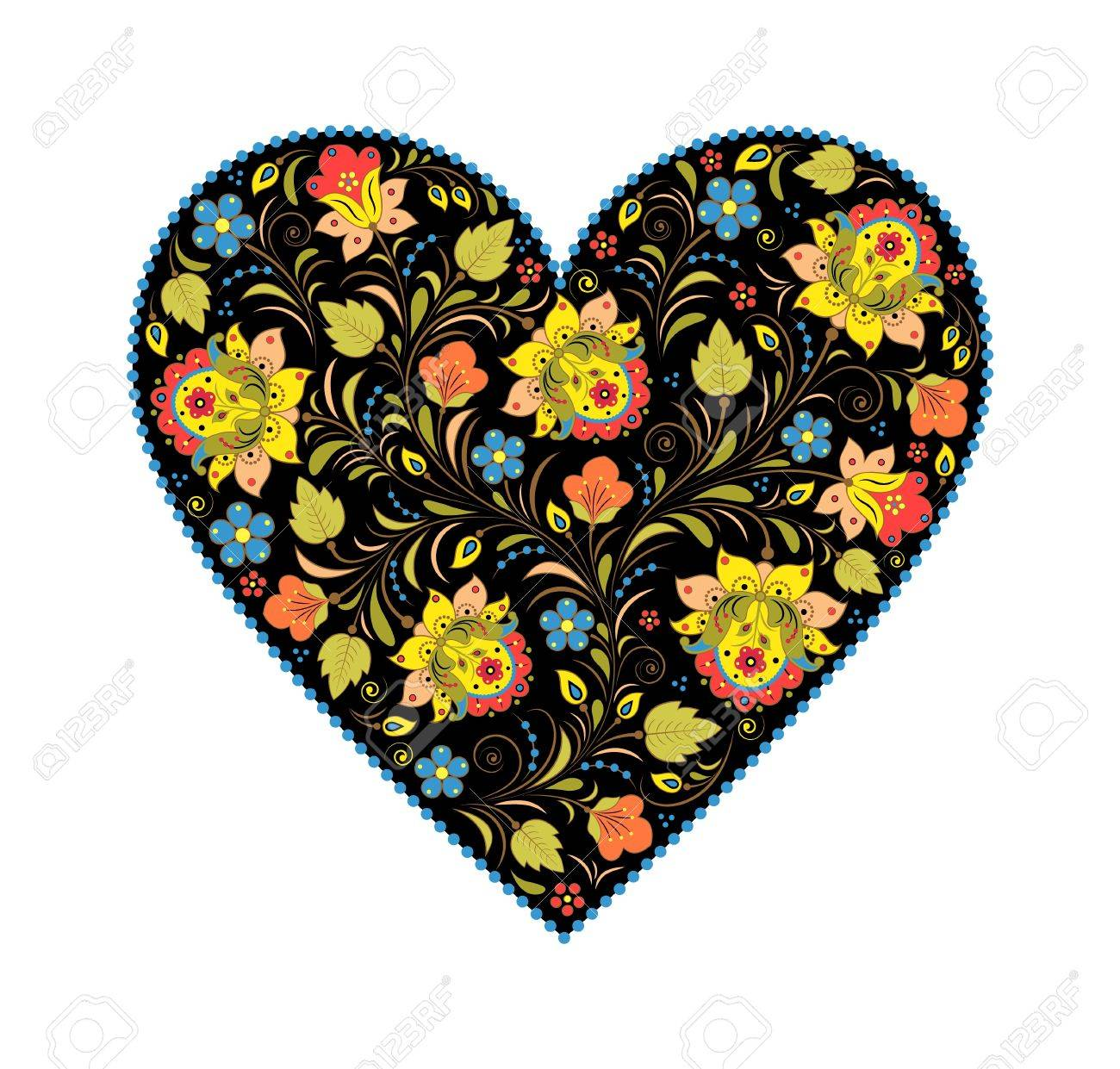 illustration of floral heart with traditional russian pattern.Khokhloma. Stock Vector - 16481805
