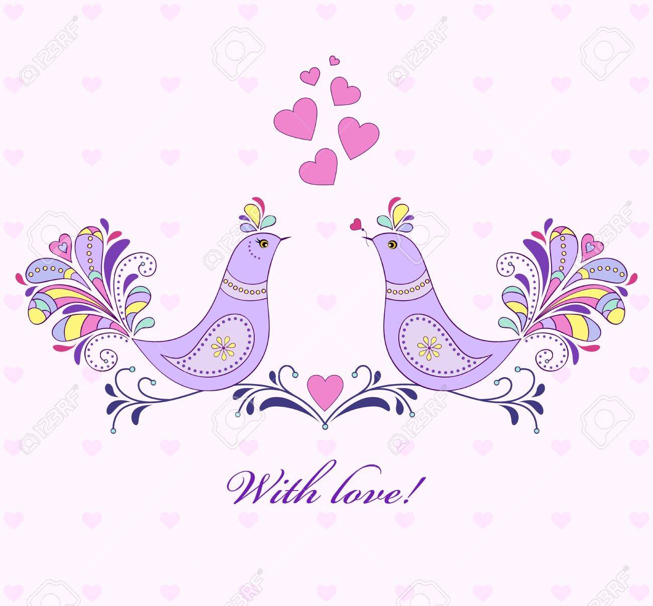 illustration of valentine`s card with bird couple. Stock Vector - 16584583