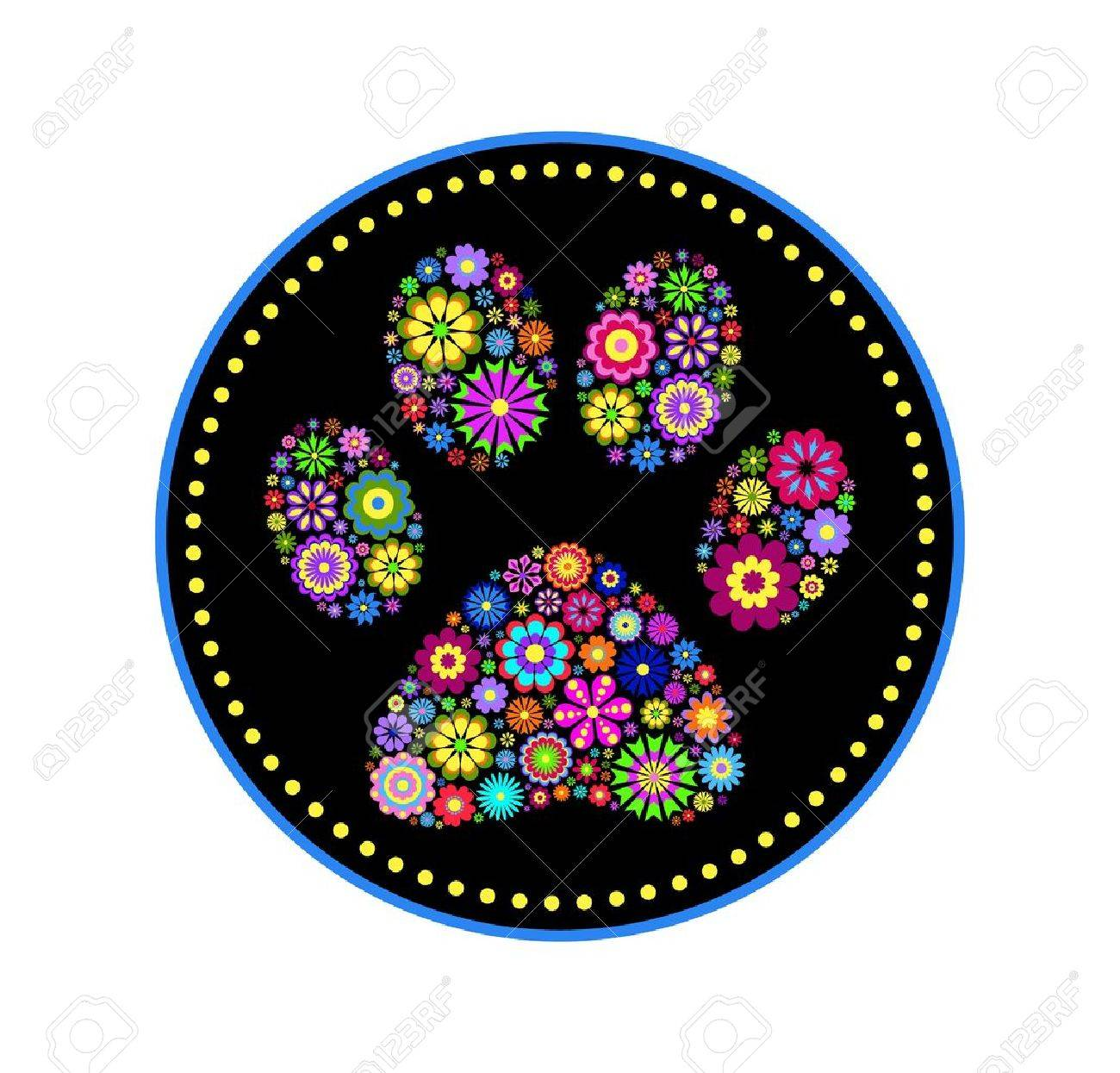 illustration of floral animal paw print on white background Stock Vector - 16689006