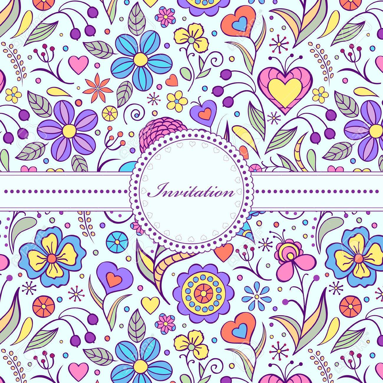 Vector illustration of  floral invitation card   or place your text Stock Vector - 16760487